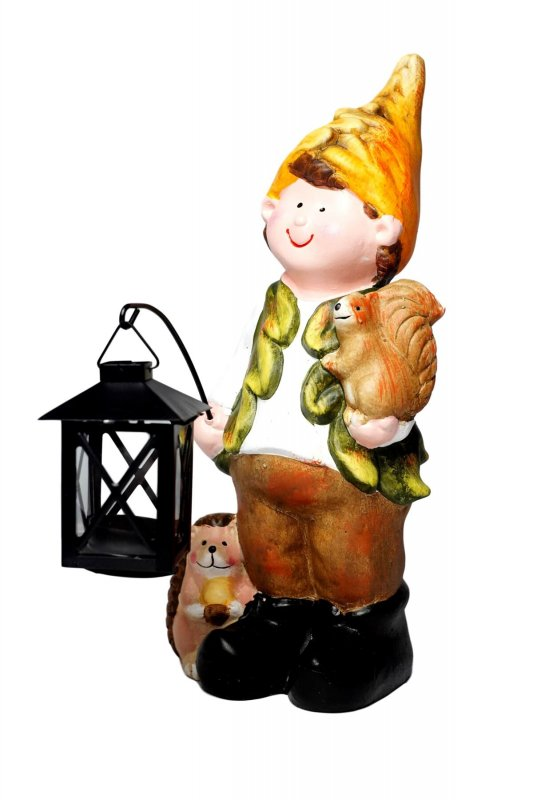 Купить Декоративная уличная скульптура Осенний мальчик с фонарем ZD Trading коричневый-разноцветный K23-110266