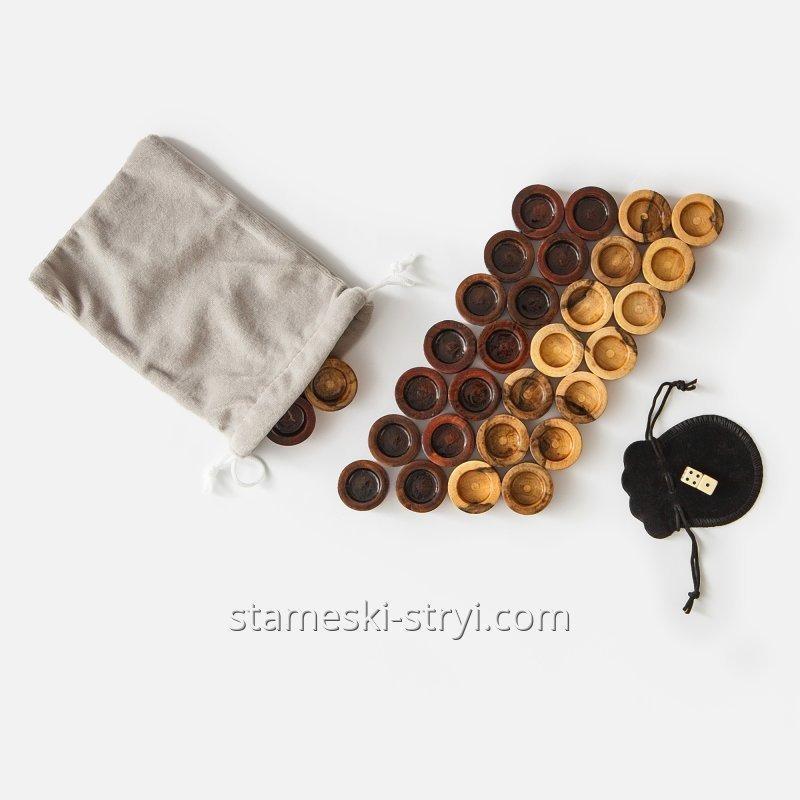 Купить Фишки и кубики из бильярдного шара для нард, шашок, арт.FK-03