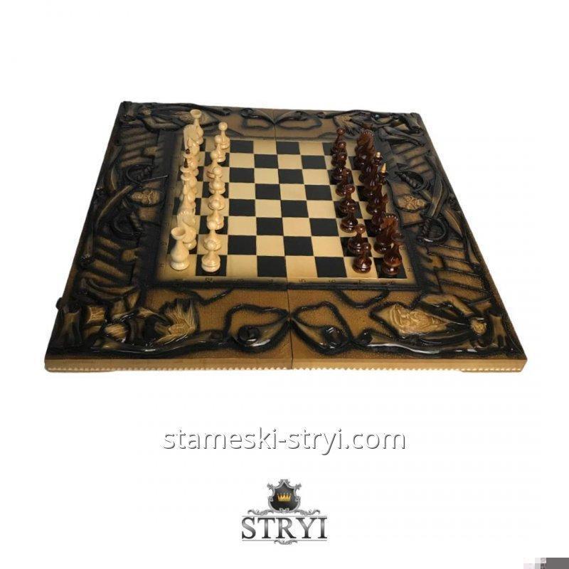 Набор деревянных фишки и кубиков с бильярдного шара для нард, шашок, арт.FK-04