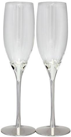 Купить Набор 2 фужера Wedding Hearts для шампанского 220мл, стекло+металл