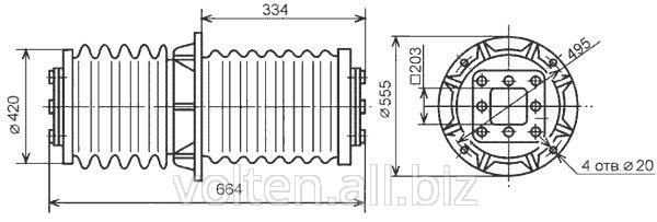 Изолятор проходной внутренней установки ИП-10/10000-42,5 УХЛ Т1, ИП-10/10000-42,5 УХЛ2.