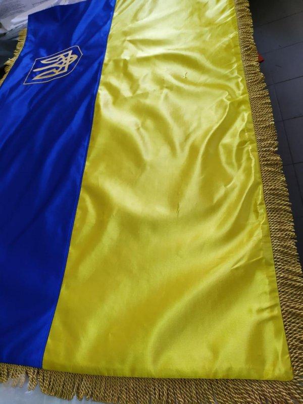Купить Флаг Украины под заказ с Гербом вышытым