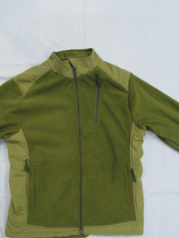 Купить Флисовая кофта с накладками под рукавами и на плечах олива -хаки разиер 44-46