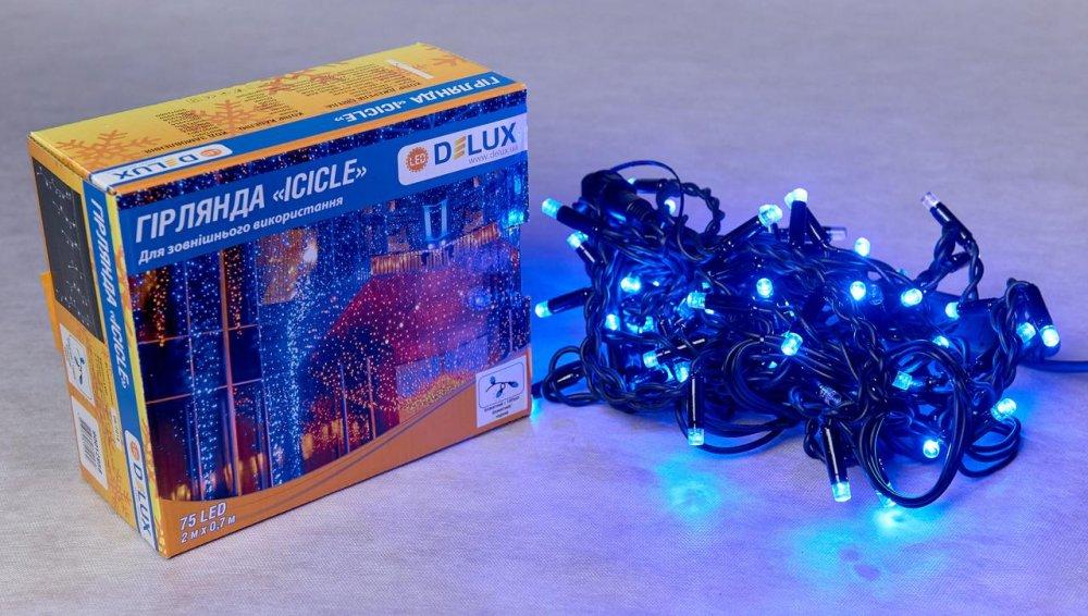 Гирлянда внешняя DELUX ICICLE 75 LED бахрома 2x0,7m 18 flash синий / черный IP44