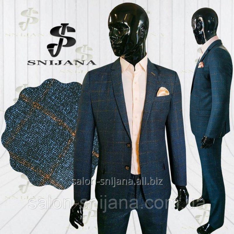 Чоловічий костюм синій в клітинку Soho 4 58