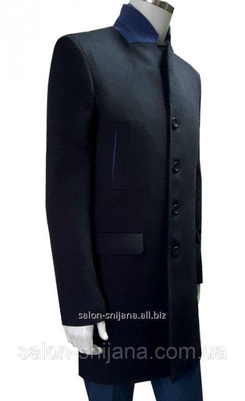 Пальто мужское черное 13875 син/чер. 48/182