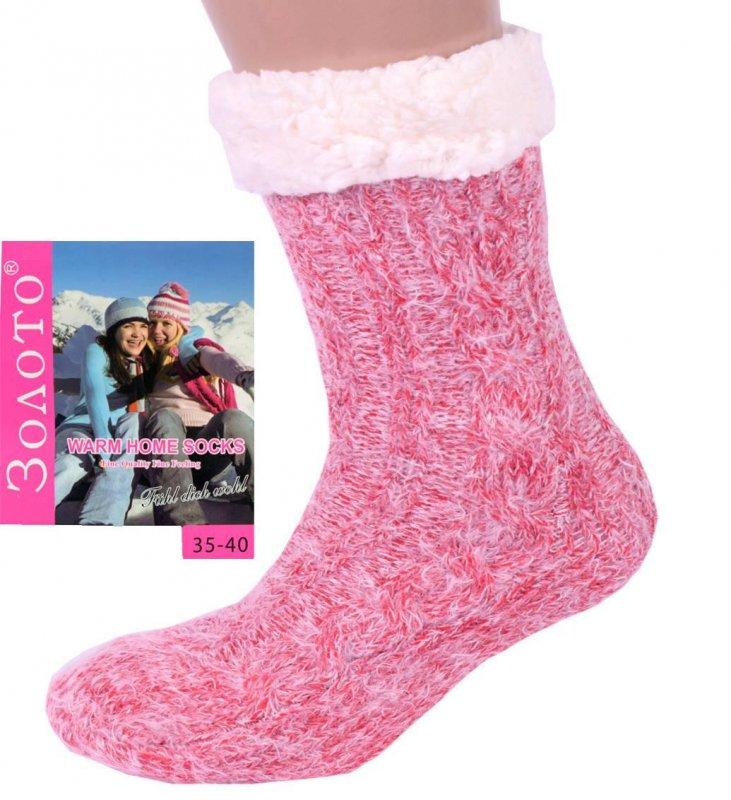 Купить Розовые женские теплые домашние носки с тормозами. Размер 35-40