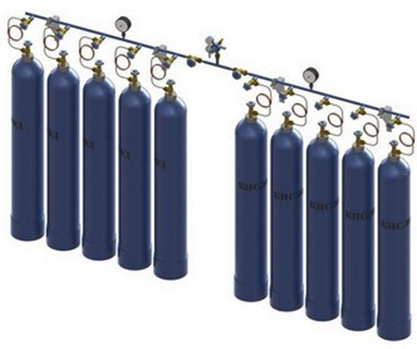 Купить Рампа кислородная на 3 - 10 баллонов (газовая перепускная)