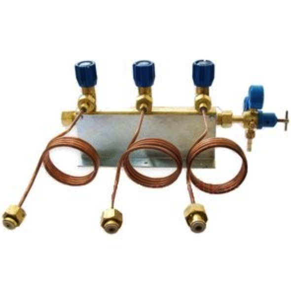 Коллектор газовый рамповый кислородный 3-х вентильный для баллонов