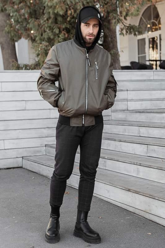 Купить Куртка мужская ветровка светлый-хаки, размер 52