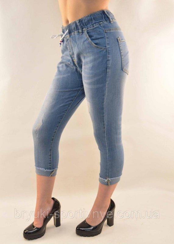 Купить Бриджи женские джинсовые рванные Капри женские 25 - 30 Синий, 26
