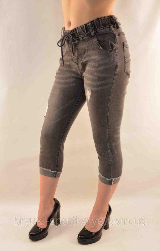 Купить Бриджи женские джинсовые рванные Капри женские 25 - 30 Серый, 25