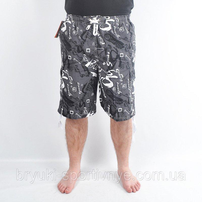 Купить Бриджи мужские пляжные - морской мотив Серый, 2XL