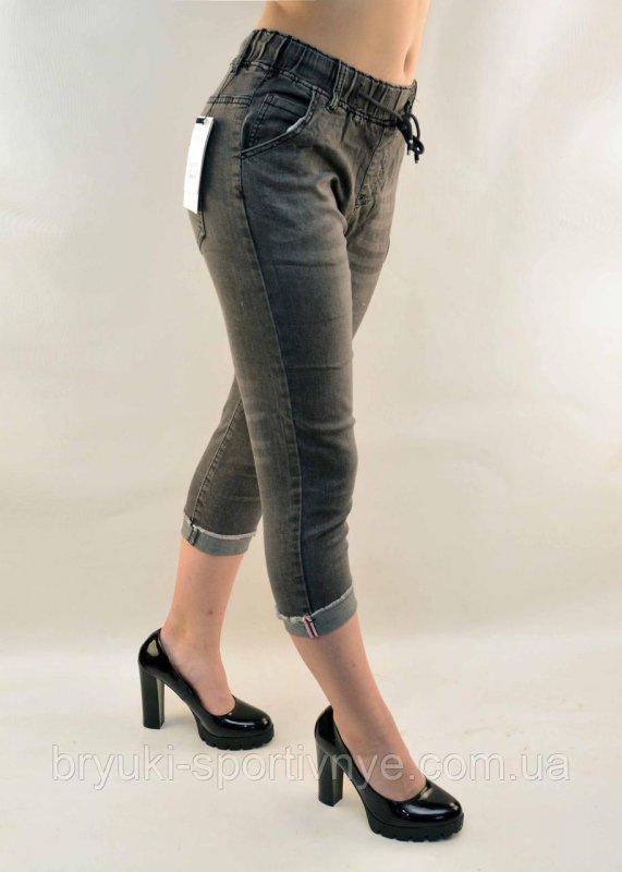 Купить Бриджи женские джинсовые с подворотом в сером цвете Капри женские 25 - 30