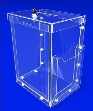 Купить Ящик для сбора денег и анкет с карманом для полиграфии и доп карманом А5 сбоку, акрил 3 мм, габариты (ШхВхГ) 246х332х190 мм (PR-105)