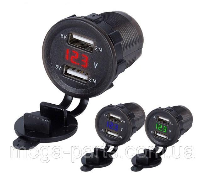 Купить Автомобильное зарядное 2хUSB (12 V - 24 V) с ВОЛЬТМЕТРОМ / врезная розетка / адаптер питания USB плюс проводка Зеленый