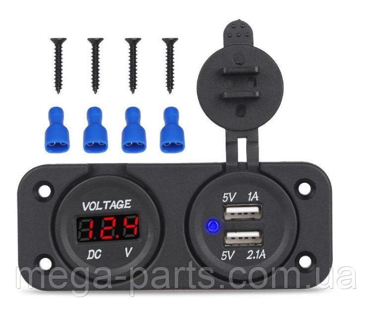 Купить Автомобильное зарядное два в одном USB цифровой вольтметр, 5 В, 3,1 А (12 V - 24 V) Красный. Синий. Зеленый Красный