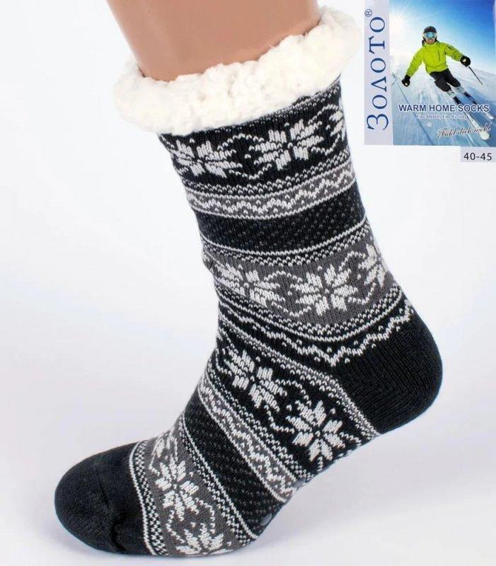 Купить Серый теплые Тапочки-носки с антискользящей поверхностью мужские 40-45р