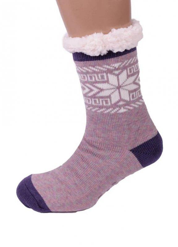 Купить Теплые домашние тапочки-носки с антискользящей поверхностью Снежинка