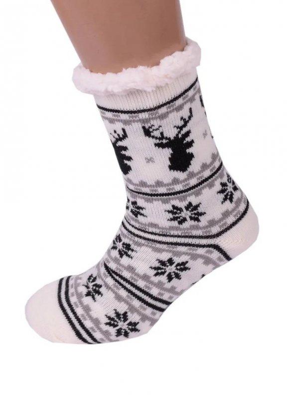Купить Белые Теплые Женские Полушерстяные Тапочки-Носочки с Антискользящей Подошвой