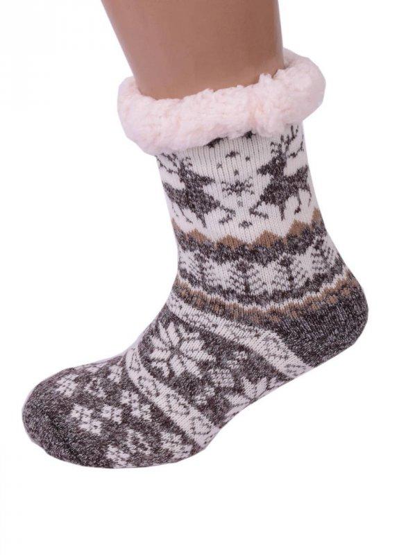 Купить Женские домашние полушерстяные тапочки-носки коричневые с оленями