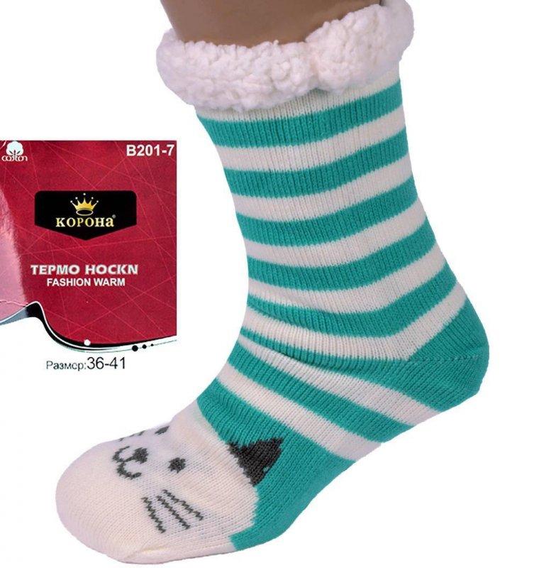Купить Теплые домашние тапочки-носки с антискользящей поверхностью Котики