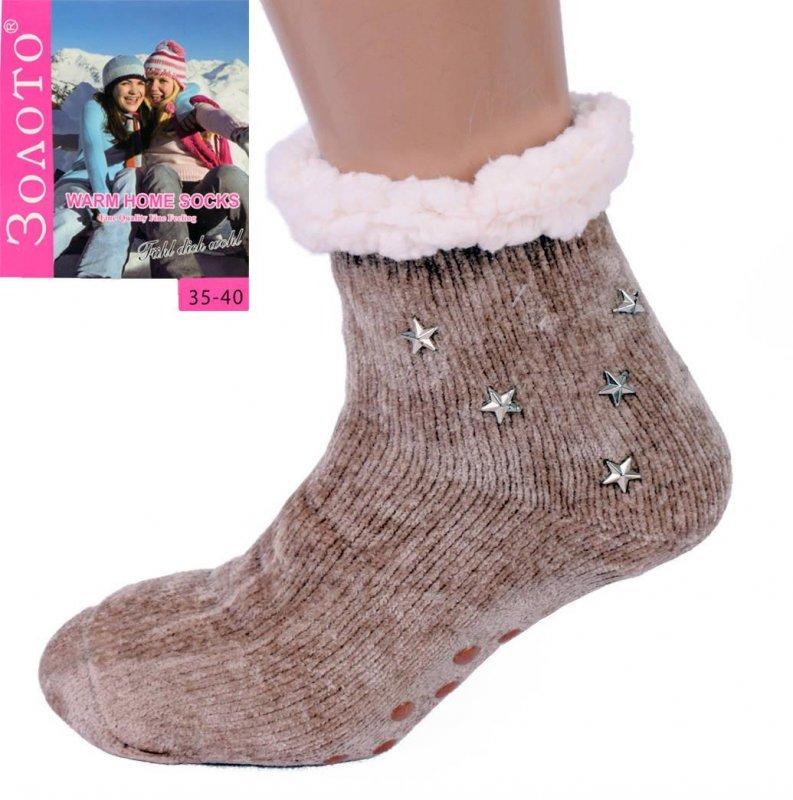 Купить Светло-коричневые тапочки-носки со звездами домашние полушерстяные с антискользящей поверхностью