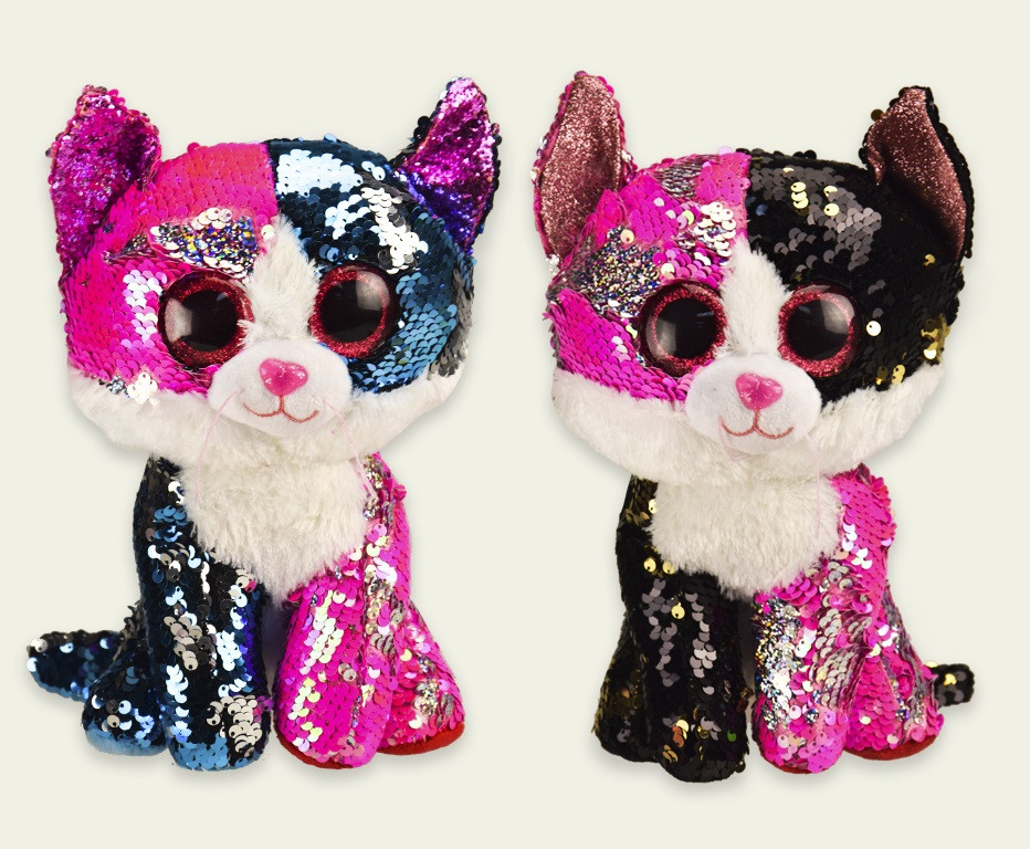 Купить Мягкая игрушка PL0664 (24шт) кошки глазастики-пайетки, 2 вида,р-р игрушки - 15*13*25 см, в пакете