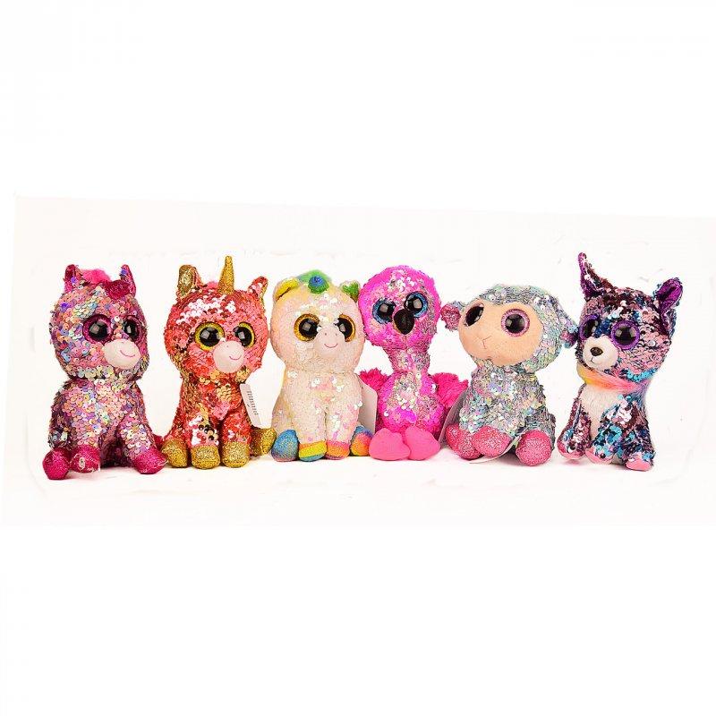 Купить Мягкая игрушка L3012 (48шт) глазастики пайетки, р-р игрушки-16 см, 6 видов