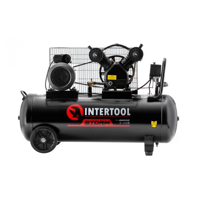 Компрессор 100 л, 3 кВт, 220 В, 8 атм, 500 л/мин, 2 цилиндра, STORM INTERTOOL PT-0014