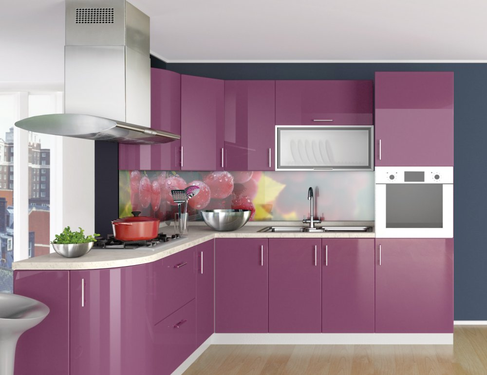 Kitchen Of High Glos The Purple From The Producer Mebel Is Old Buy