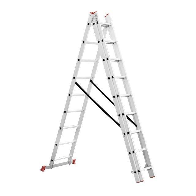 Лестница алюминиевая 3-х секционная универсальная раскладная 3*8ступ. 5.09м INTERTOOL LT-0308