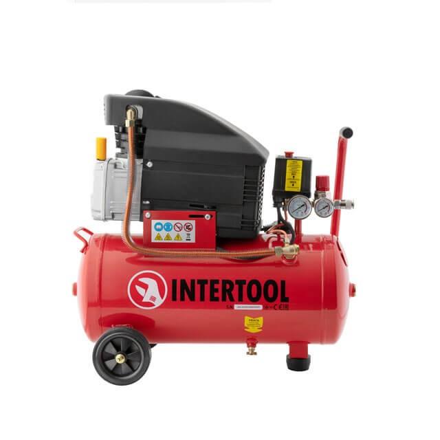 Компрессор 24 л, 1.5 кВт, 220 В, 8 атм, 206 л/мин INTERTOOL PT-0010