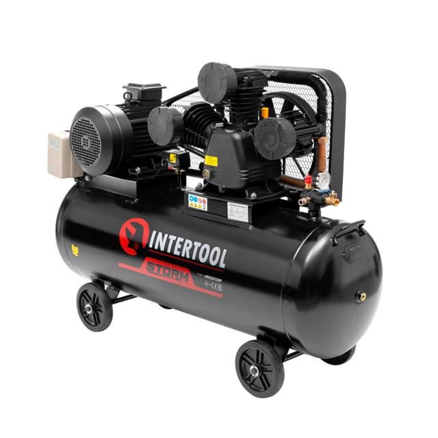 Компрессор 200 л, 7,5 кВт, 380 В, 10 атм, 1050 л/мин. 3 цилиндра INTERTOOL PT-0040
