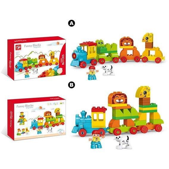 Купить Конструктор для малышей Funny Blocks 188-413 2 вида, 50 деталей, 34 x 23.7 x 8 см