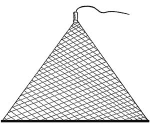Рыболовная косынка треугольная из лески 150*150*150, толщина 0.17