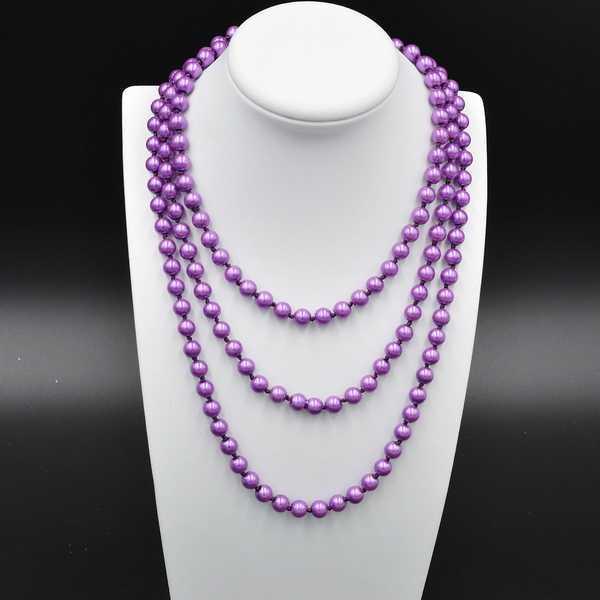 Купить Бусы под жемчуг фиолетовые диаметр 8 мм длина 160 см