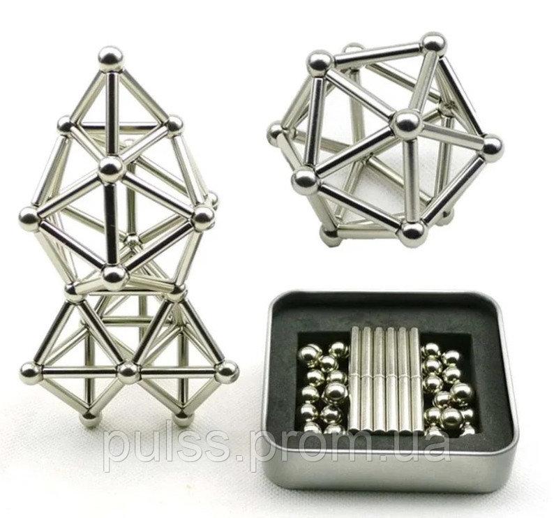 Купить Магнитный конструктор типа Неокуб головоломка в боксе 36 магнитных палочки и 26 шариков Neocube Buckyballs &