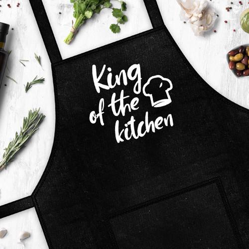 Купить Фартук с надписью King of the kitchen (Король кухни) подарок на день рождения