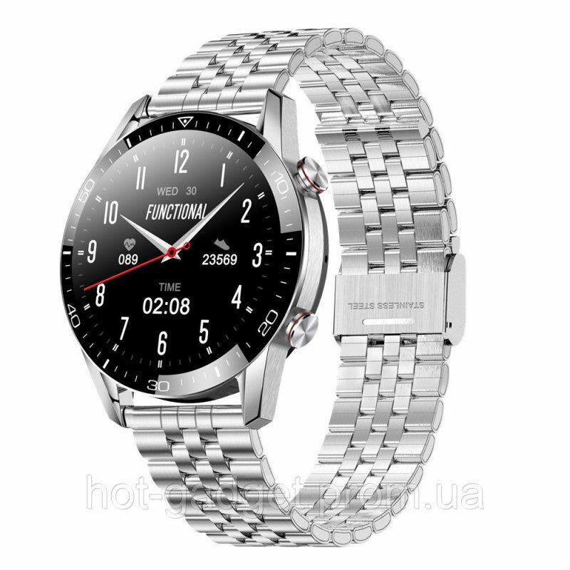 Купить Смарт-часы Bakeey Arma Black (тонометр, пульсоксиметр, разговор) Серебро