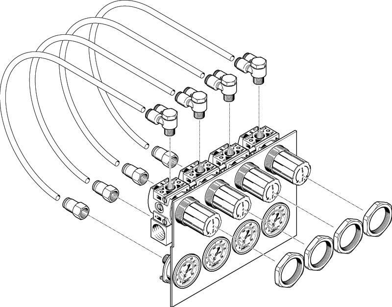 Регулятор давления  LR-1/8-DB-7-MINI  Регулятор давления с прямым управлением, рабочее давление до 7 бар, с манометром.