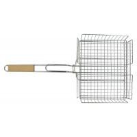 Купить Решетка-гриль корзина, 25х31 см, с ручкой дерево, 56 см