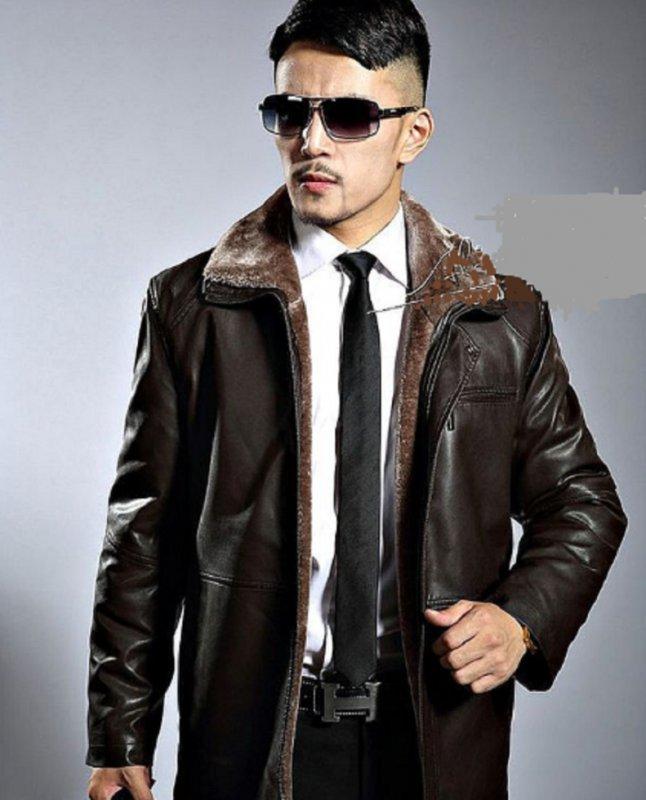 Новинка зимы. Модная толстая, теплая кожанная зимняя мужская куртка с отложным воротником на молнии.