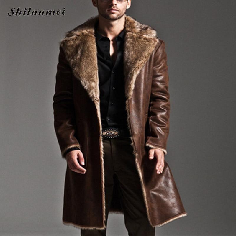 Купить  Водонепроницаемая, длинная кожаная куртка на меху.