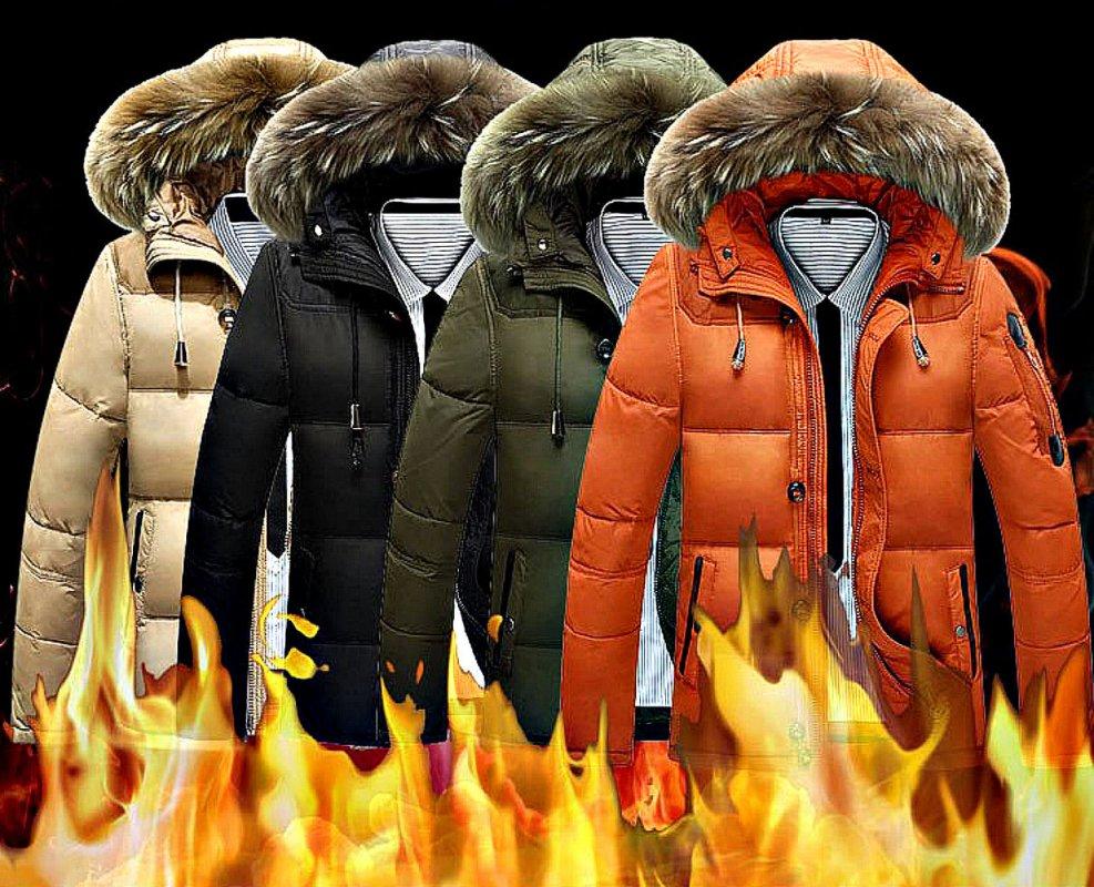 Зимний, мужской, теплый пуховик-(Пух белой утки) с меховым капюшоном