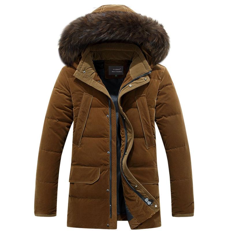 Толстая зимняя пуховая куртка для мужчин с белого утиного пуха -(30 градусов) .