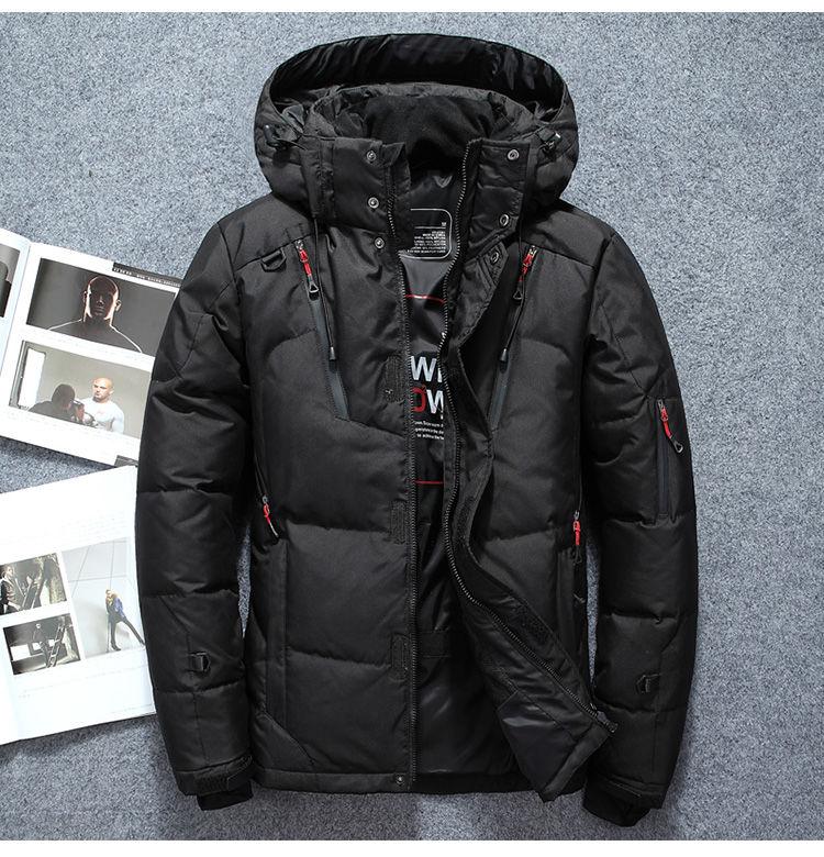 Модные зимние мужские куртки–пуховики на белом утином пуху