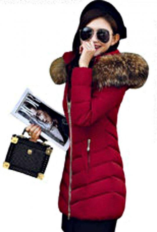 Модная брендовая женская зимняя куртка-парка с большим меховым воротником.