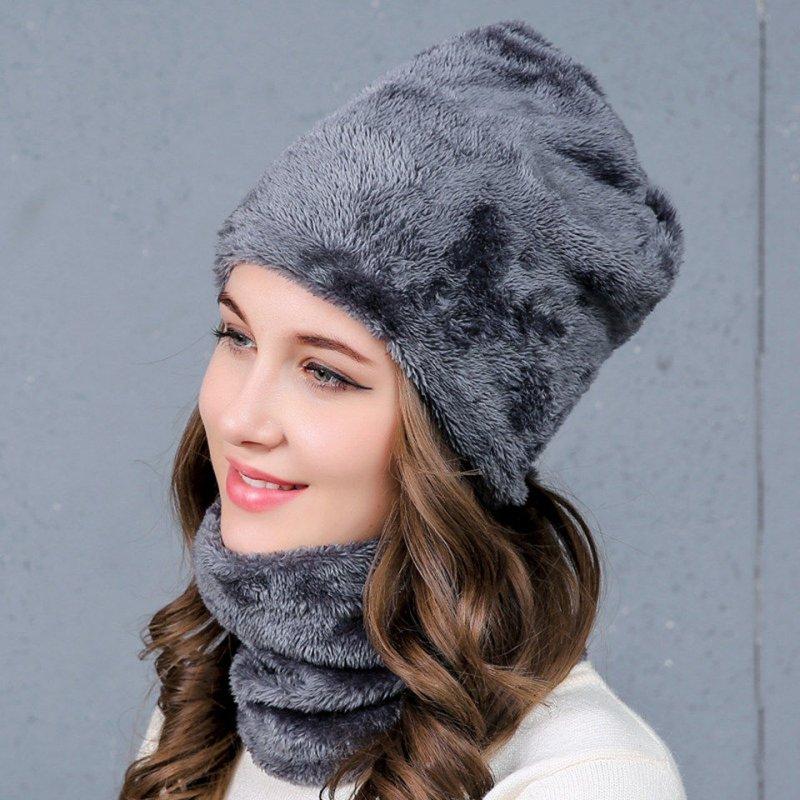 Меховая шапка+шарф-хомут для женщин.