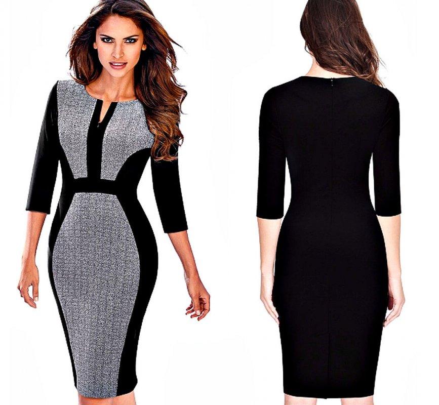 Повседневное женское платье на молнии-для работы, в офис-(ретро контрастность)